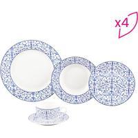 Aparelho De Jantar Abstract- Branco & Azul- 20Pçs