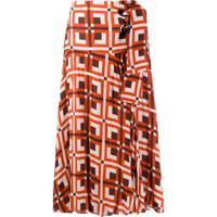 Johanna Ortiz Tie Waist Geometric Print Skirt - Vermelho