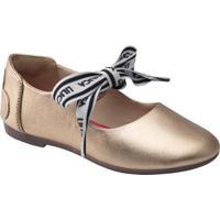Sapato Em Couro Com Amarração- Dourado & Brancolilica Ripilica E Tigor T. Tigre