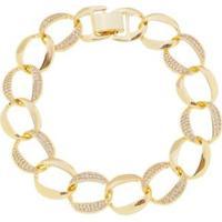 Pulseira Aea Elos Cravejados Zircônias Folheado Ouro 18K - Feminino-Dourado