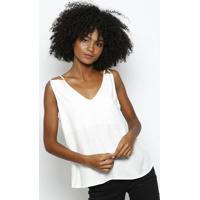 Blusa Texturizada Com Recortes- Brancahering