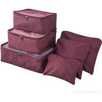 Kit 6 Sacos Bolsas Organizador Mala Roupas Bagagem Viagem - Unissex-Rosa