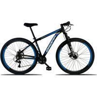 Bicicleta Dropp Aro 29 Freio A Disco Mecânico Quadro 19 Alumínio 21 Marchas Preto Azul