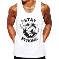 Camiseta Regata Criativa Urbana Fitness Stay Strong - Masculino-Branco