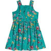 Vestido Floral Com Amarração - Verde & Rosabrandili