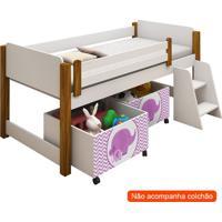 Conjunto De Cama Infantil Naty Com Baú E Escada Branco E Rosa