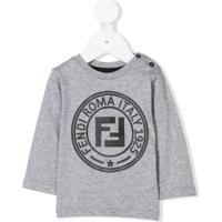 Fendi Kids Blusa Com Estampa De Logo - Cinza