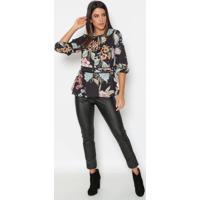 Blusa Floral Com Recortes - Preta & Amarelagatabakana