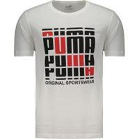 Camiseta Puma Estampada Masculina - Masculino-Branco