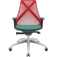 Cadeira Office Bix Tela Vermelha Assento Poliéster Verde Autocompensador Base Alumínio 95Cm - 63967 - Sun House