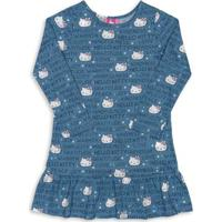 Camisola Mãe E Filha Adulto Azul Hello Kitty