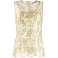 Dolce & Gabbana Blusa Sem Mangas Com Renda Brocada - Dourado