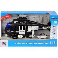 Helicóptero De Resgate Com Luz E Som - Helicoptero Policia Bbr Toys
