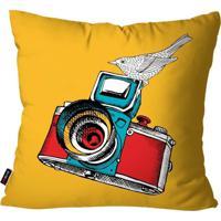 Capa De Almofada Pump Up Decorativa Avulsa Amarelo Câmera Fotográfica 45X45Cm