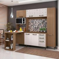 Cozinha Completa Cb108-Ntba 7 Portas Nature E Branco