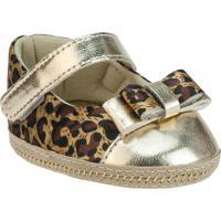 Sapato Boneca Animal Print Com Recortes- Dourado & Marrogriff