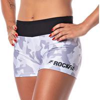 Short De Academia E Cross Feminino Rock Fit Camuflado Branco