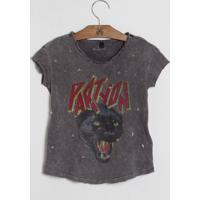 Camiseta John John Kids Party On Malha Cinza Feminina (Cinza Claro, 02)