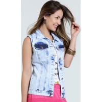 Colete Feminino Jeans Marmorizado Marisa