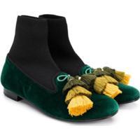 Florens Bota De Couro Com Detalhe De Tassel - Verde