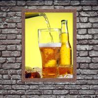 Quadro Decorativo Cerveja Gelada No Ponto Madeira - Médio