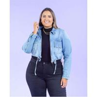 Jaqueta Cropped Almaria Plus Size Blubetty Azul