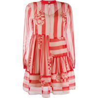 Twin-Set Striped Flared Mini Dress - Neutro