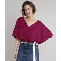 Blusa Feminina Cropped Com Sobreposição E Botões Manga Curta Decote V Rosa Escuro