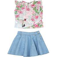 Conjunto De Blusa Floral + Saia Reta- Rosa & Azul Claro
