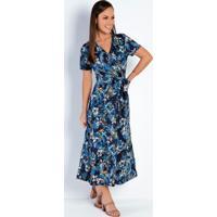 Vestido Transpassado Floral Azul Moda Evangélica