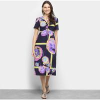 Vestido Sommer Midi Floral - Feminino-Azul+Pink