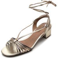 Sandália Dafiti Shoes Amarração Dourada