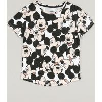 Blusa Infantil Mickey Estampada Manga Curta Decote Redondo Branca