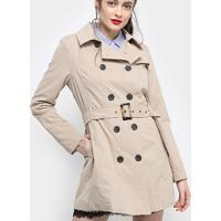 Casaco Drezzup Trench Coat Feminino - Feminino-Bege