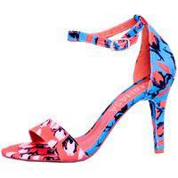 Sandália Em Tecido Floral Salto Fino Azul
