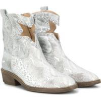 Florens Teen Snakeskin Print Ankle Boots - Prateado