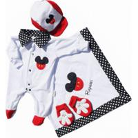 Kit Saída Maternidade I9 Baby Mouse C/Nome Na Manta Branco