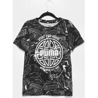 Camiseta Infantil Puma Alpha Masculina - Masculino-Preto