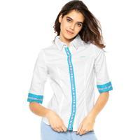 Camisa Zatana Listras Branca/Azul