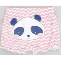 Short Infantil Panda Estampado Chevron Rosa