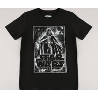 Camiseta Juvenil Darth Vader Star Wars Brilha No Escuro Manga Curta Preta