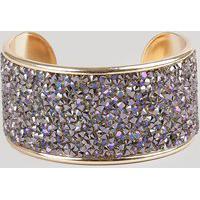 Bracelete Com Strass Dourado