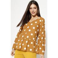 Blusa Com Franzidos & Recortes - Marrom Claro & Brancamoiselle