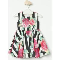 Vestido Listrado & Floral- Preto & Rosa- Luluzinhaluluzinha
