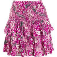 Isabel Marant Étoile Floral-Print Tiered Skirt - Rosa
