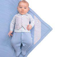 Saída Maternidade Paraiso Conforto Com Estampa Xadrez Azul