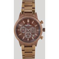Relógio Cronógrafo Philiph London Masculino - Pl80090613M Marrom - Único