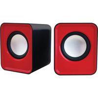 Caixa De Som Cube- Preta & Vermelha- 7X14X7Cm- Unewex
