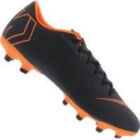Chuteira De Campo Nike Mercurial Vapor 12 Academy Mg - Adulto - Preto/Laranja Esc