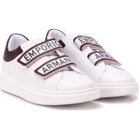 Emporio Armani Kids Tênis Com Velcro E Logo - Branco
